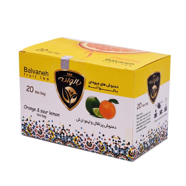 دمنوش کیسه ای پرتقال و لیموترش بالوانه بسته ۲۰ عددی