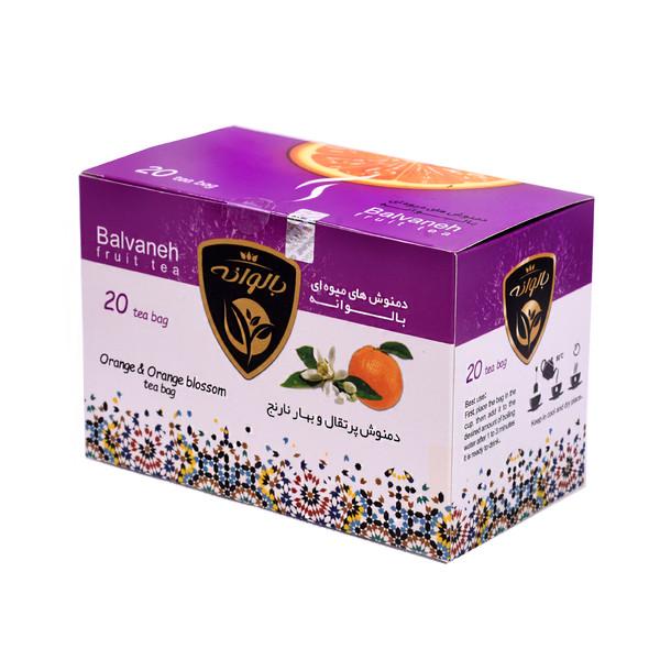 دمنوش کیسه ای پرتقال و بهارنارنج بالوانه بسته ۲۰ عددی