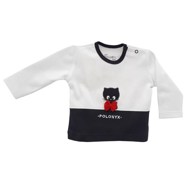 تی شرت آستین بلند نوزادی پسرانه پولونیکس طرح گربه کد 06