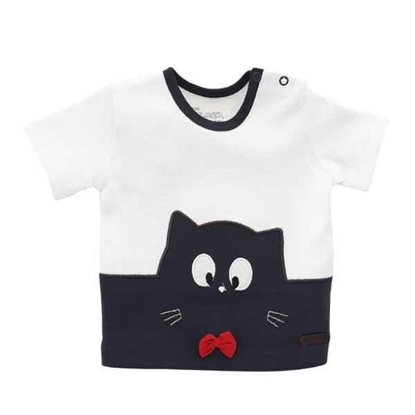 تی شرت آستین کوتاه پسرانه پولونیکس طرح گربه کد 017