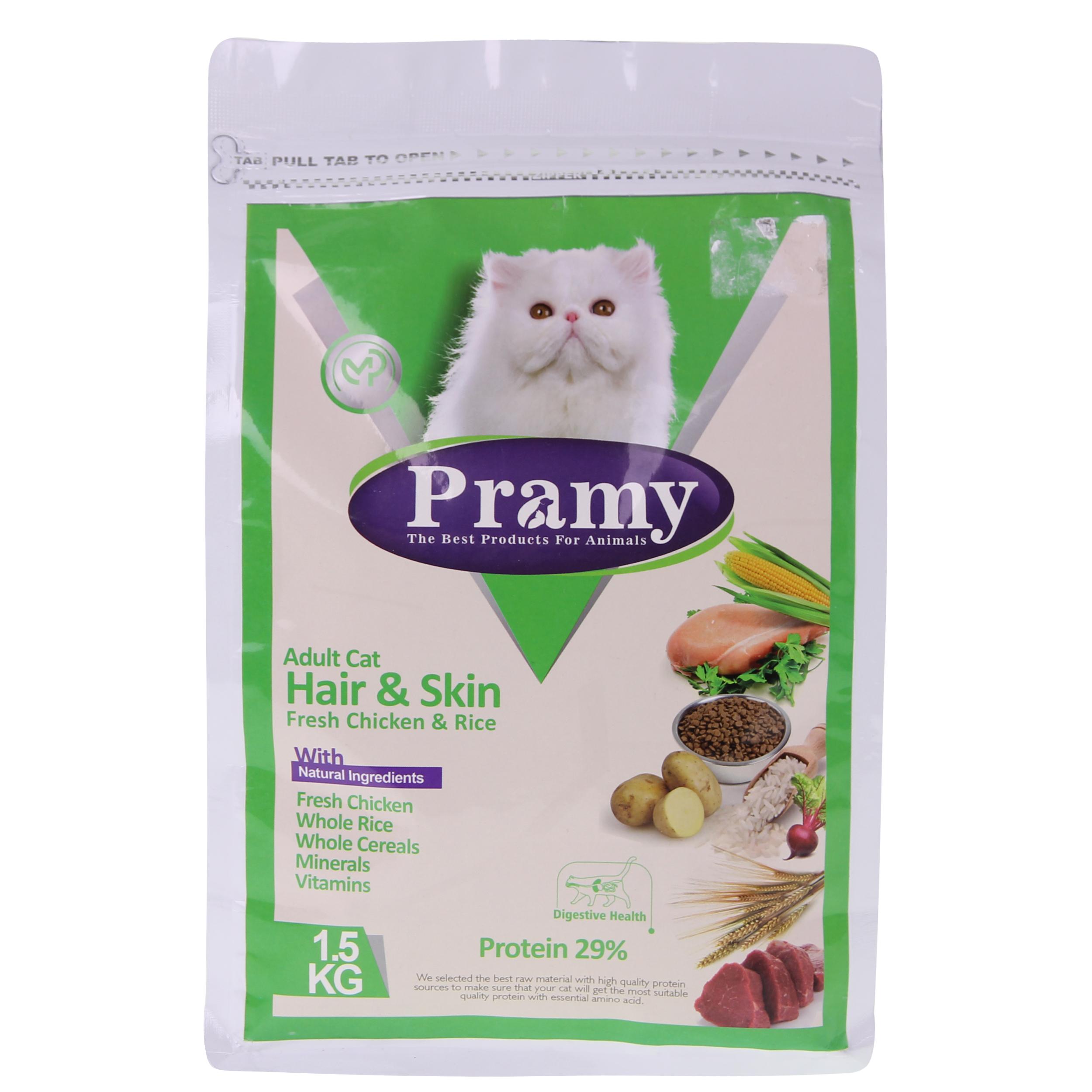 غذای خشک گربه پرامی مدل  Adult hair & Skin وزن 1.5کیلوگرم