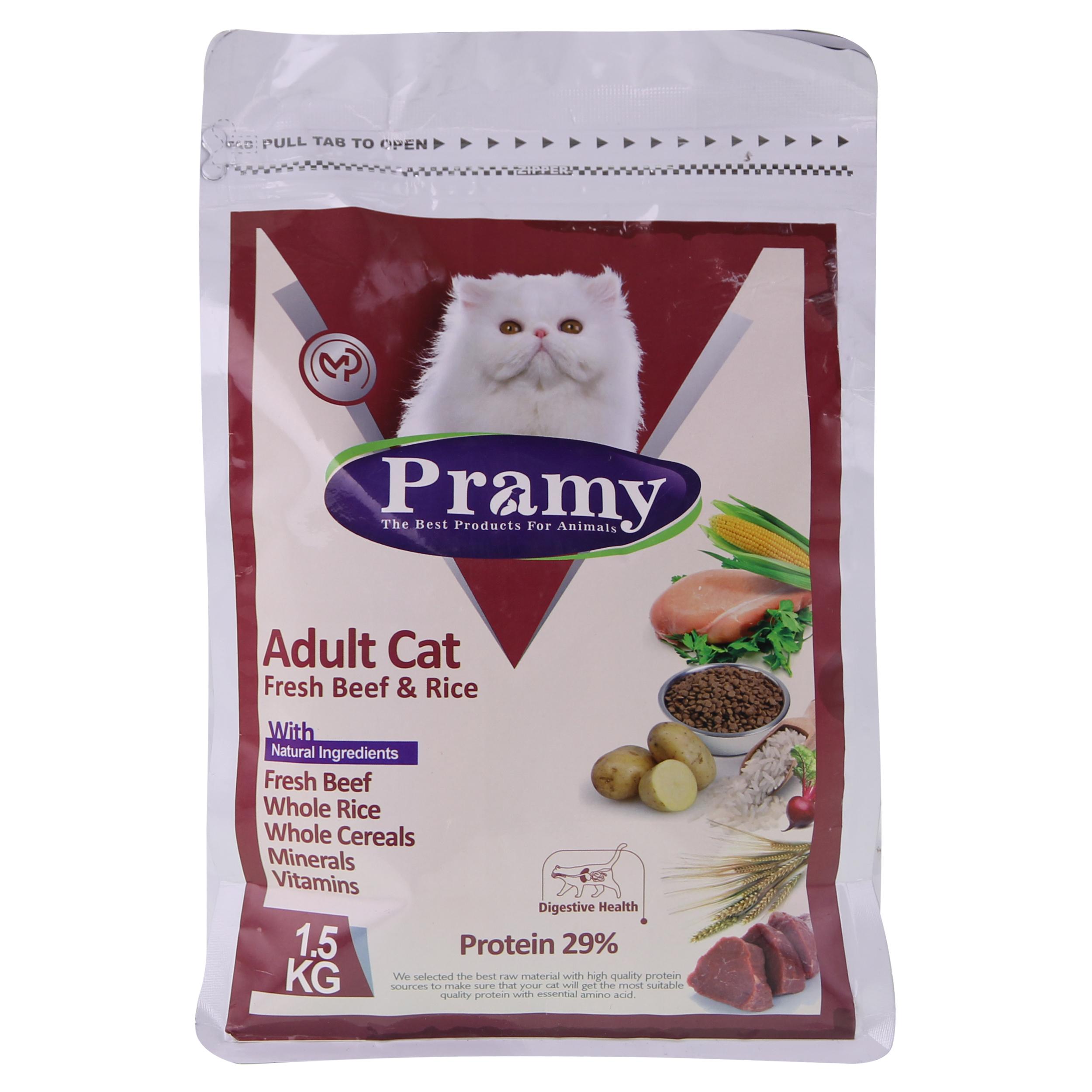 غذای خشک گربه پرامی مدل  Adult cat وزن 1.5 کیلوگرم