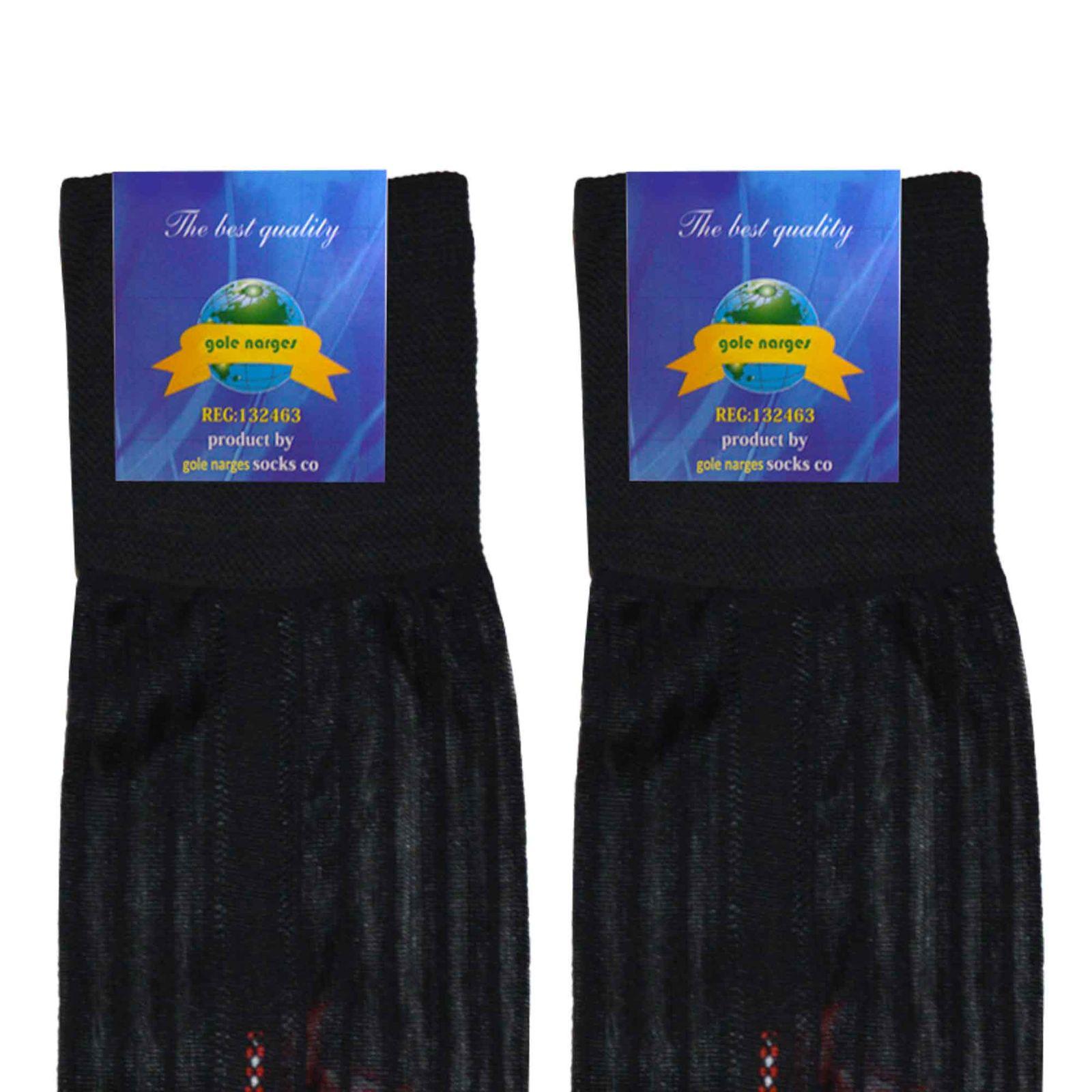 جوراب مردانه گل نرگس مدل ZTM1 رنگ مشکی -  - 4