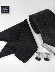 ست کراوات و دستمال جیب و دکمه سر دست مردانه کد 435 -  - 2