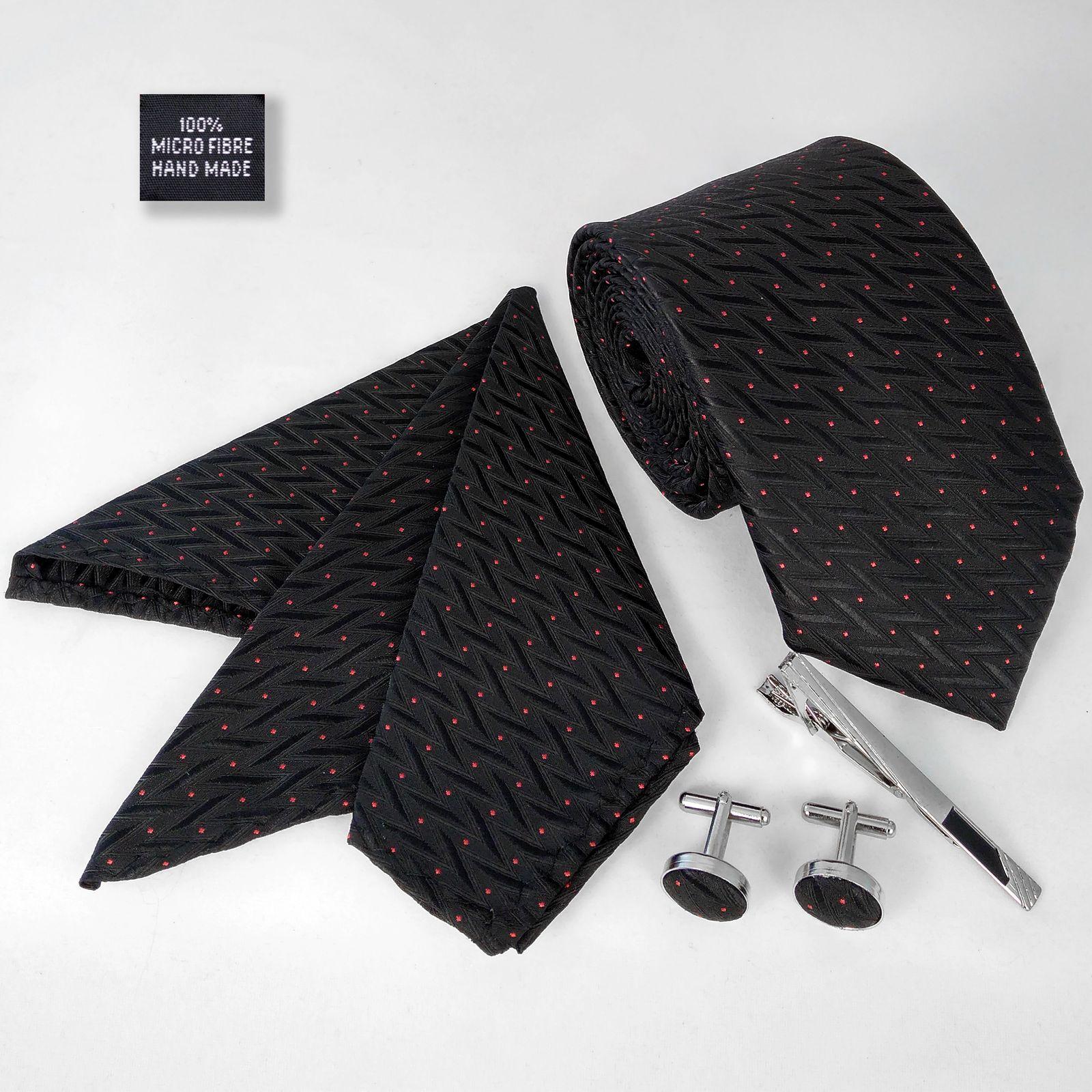 ست کراوات و دستمال جیب و دکمه سر دست مردانه کد 435 -  - 3