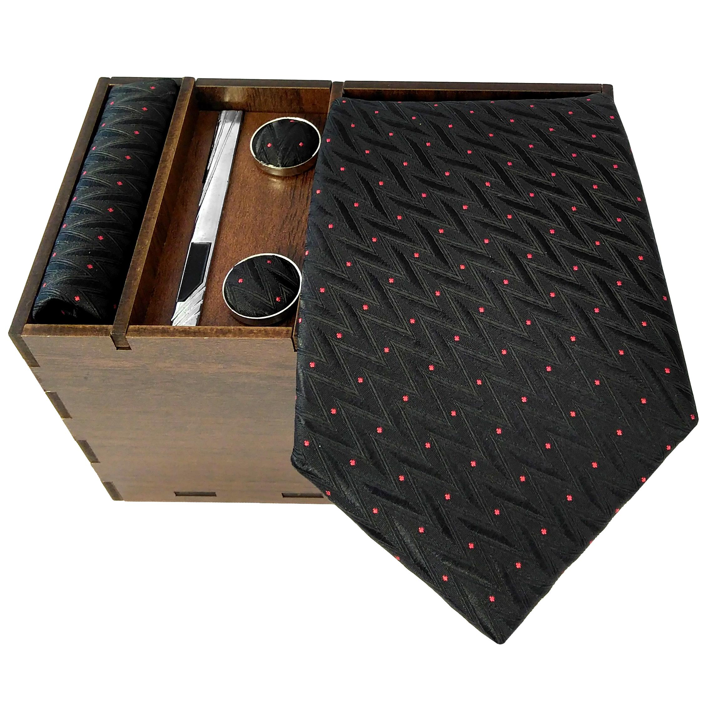 ست کراوات و دستمال جیب و دکمه سر دست مردانه کد 435
