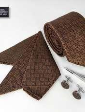 ست کراوات و دستمال جیب و دکمه سر دست مردانه کد 436 -  - 2