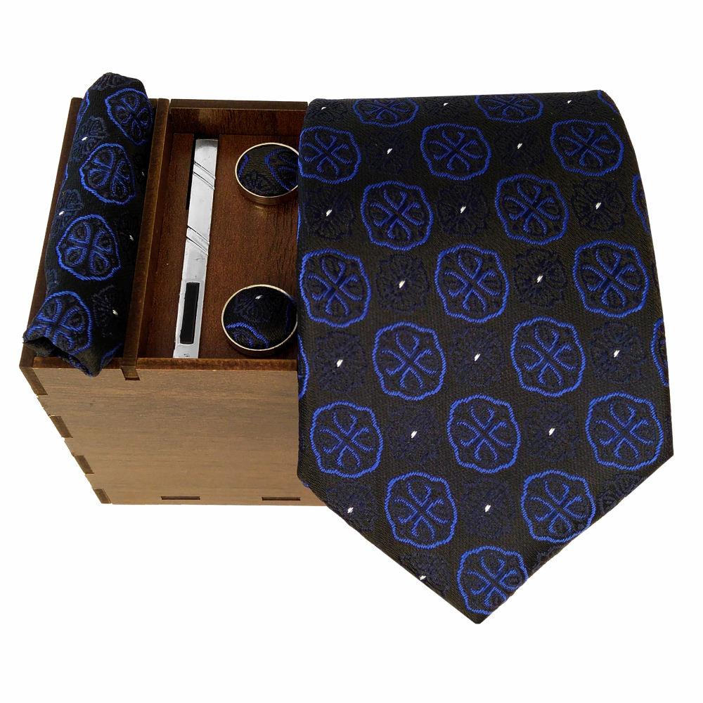 ست کراوات و دستمال جیب و دکمه سر دست مردانه کد 438