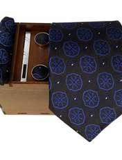 ست کراوات و دستمال جیب و دکمه سر دست مردانه کد 438 -  - 1