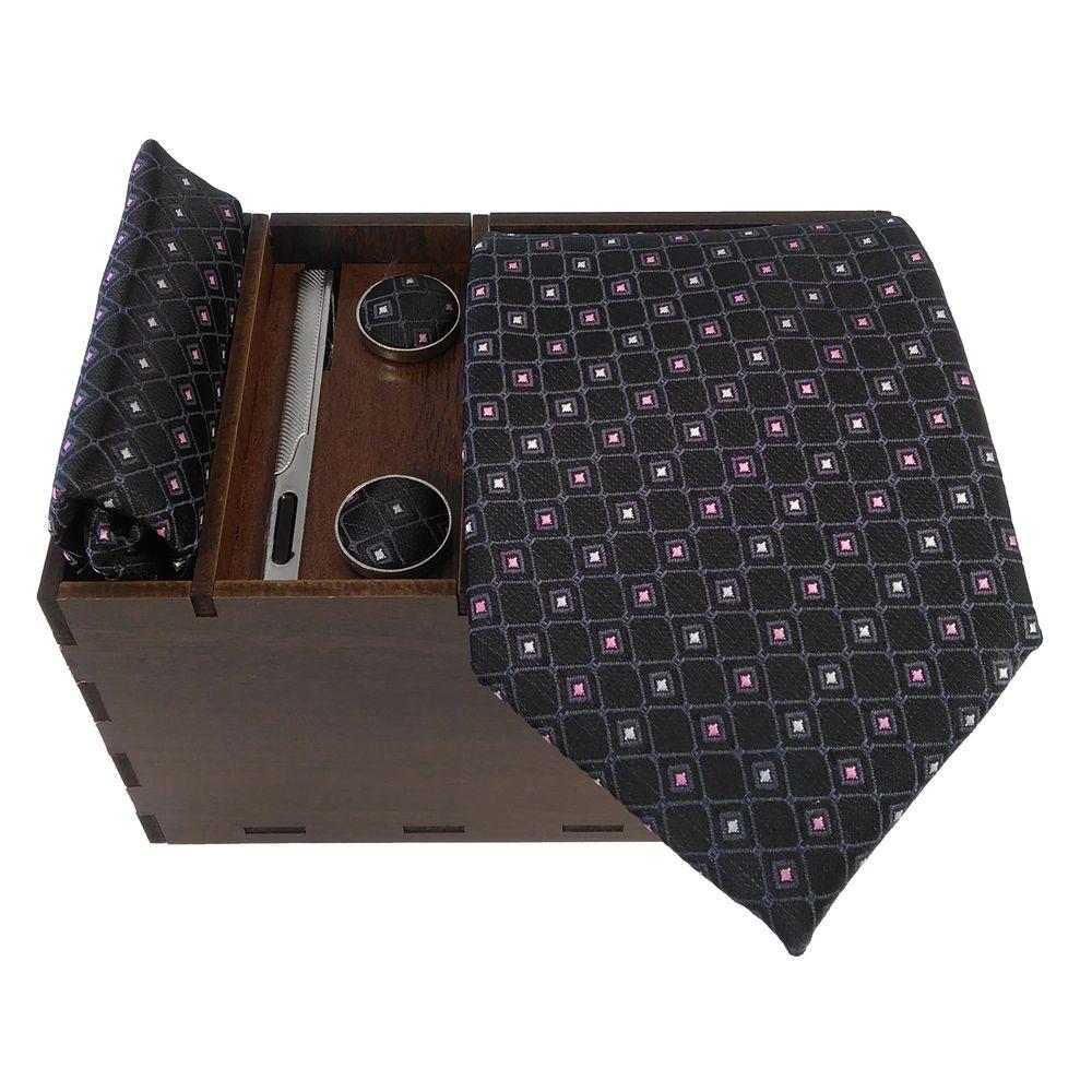 ست کراوات و دستمال جیب و دکمه سر دست مردانه کد 434