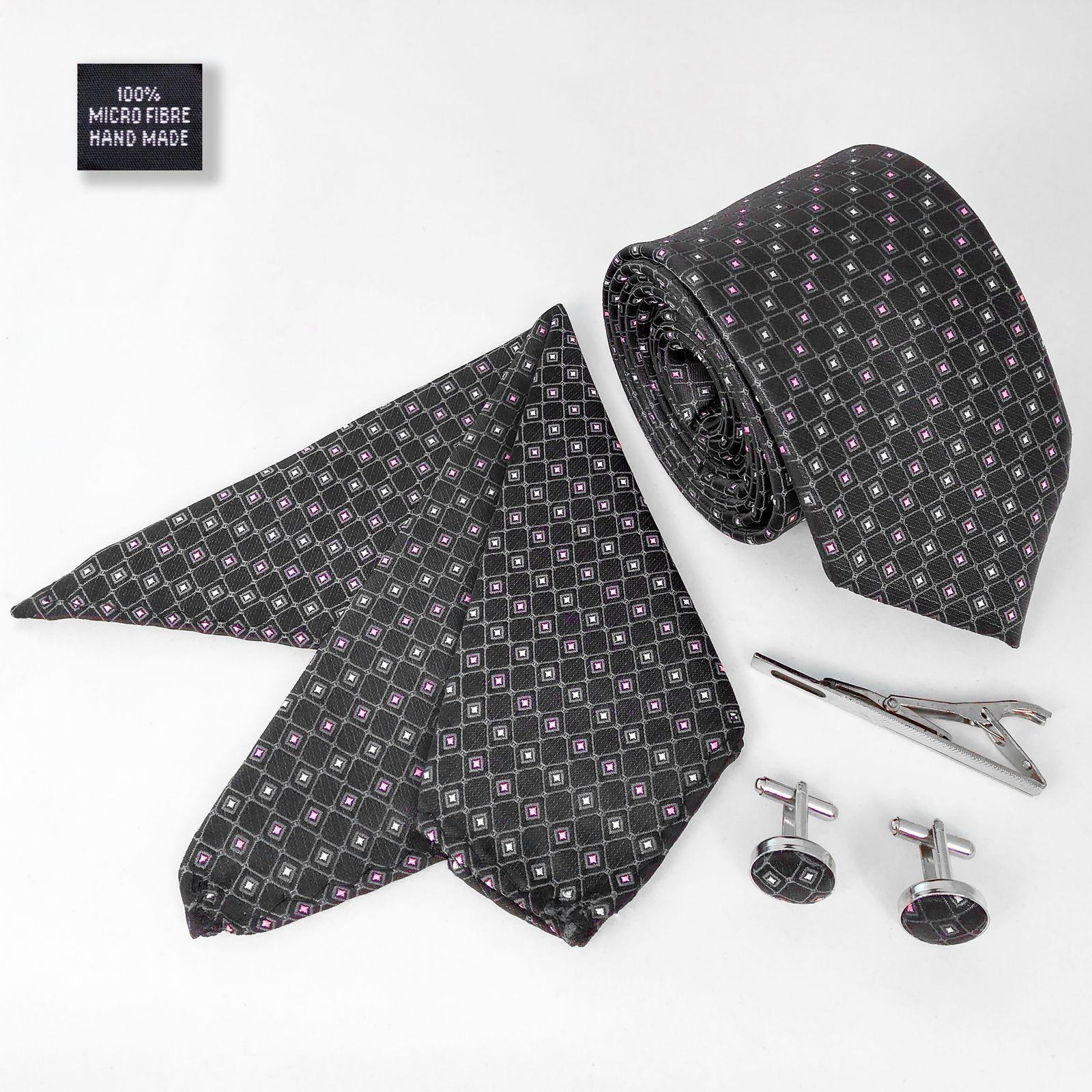 ست کراوات و دستمال جیب و دکمه سر دست مردانه کد 434 -  - 3