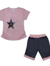 ست تیشرت و شلوارک دخترانه طرح ستاره کد ۱۳۶۲ -  - 1