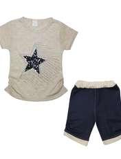 ست تیشرت و شلوارک دخترانه طرح ستاره کد ۱۳۶۱ -  - 1