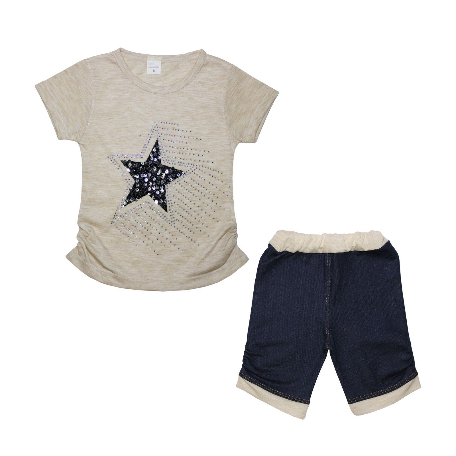 ست تیشرت و شلوارک دخترانه طرح ستاره کد ۱۳۶۱ -  - 2