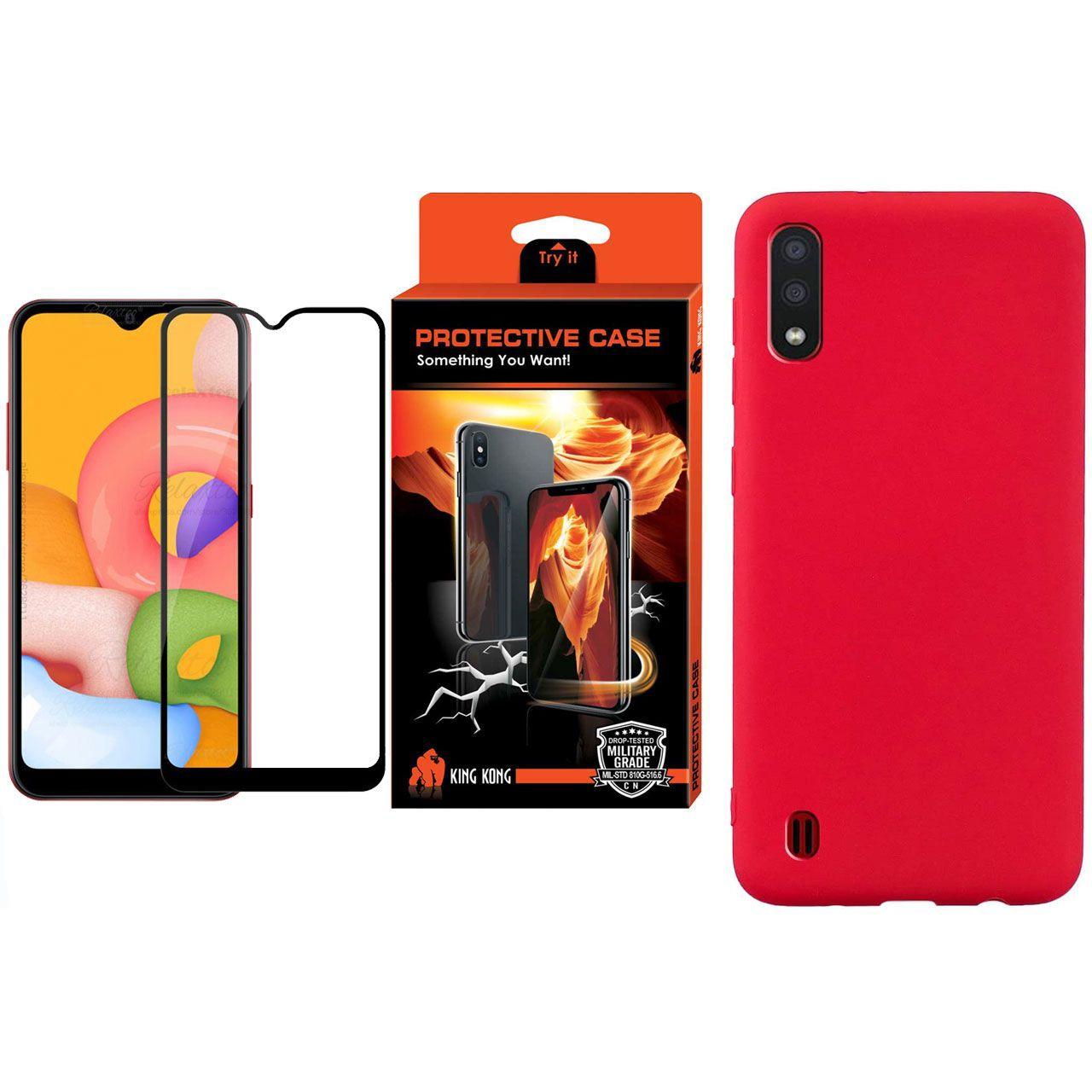 کاور کینگ کونگ مدل SLCN مناسب برای گوشی موبایل سامسونگ Galaxy A01 به همراه محافظ صفحه نمایش