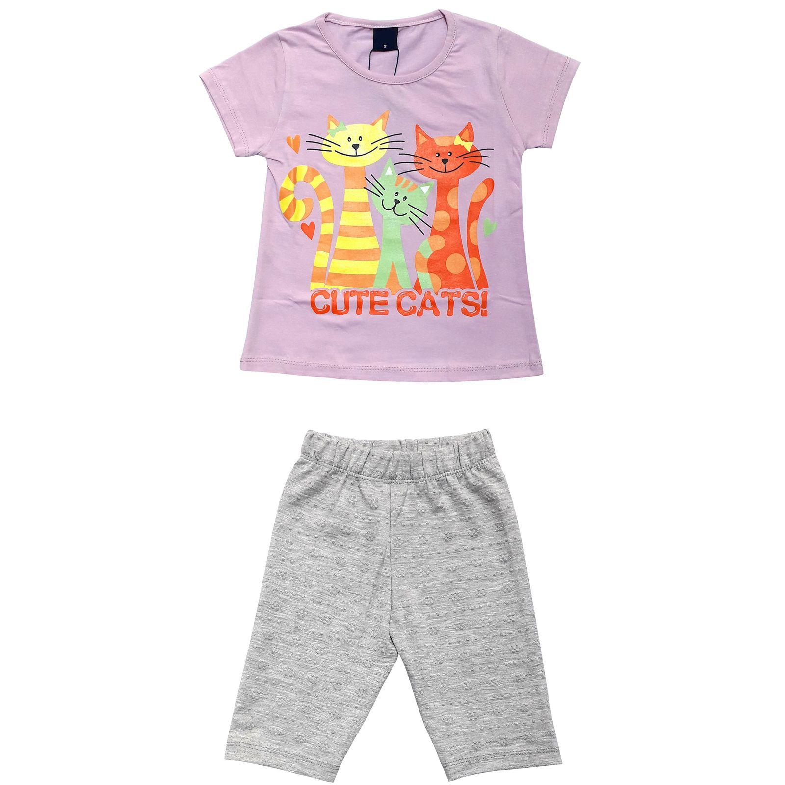 ست تی شرت و شلوارک دخترانه کد 7787924 -  - 3
