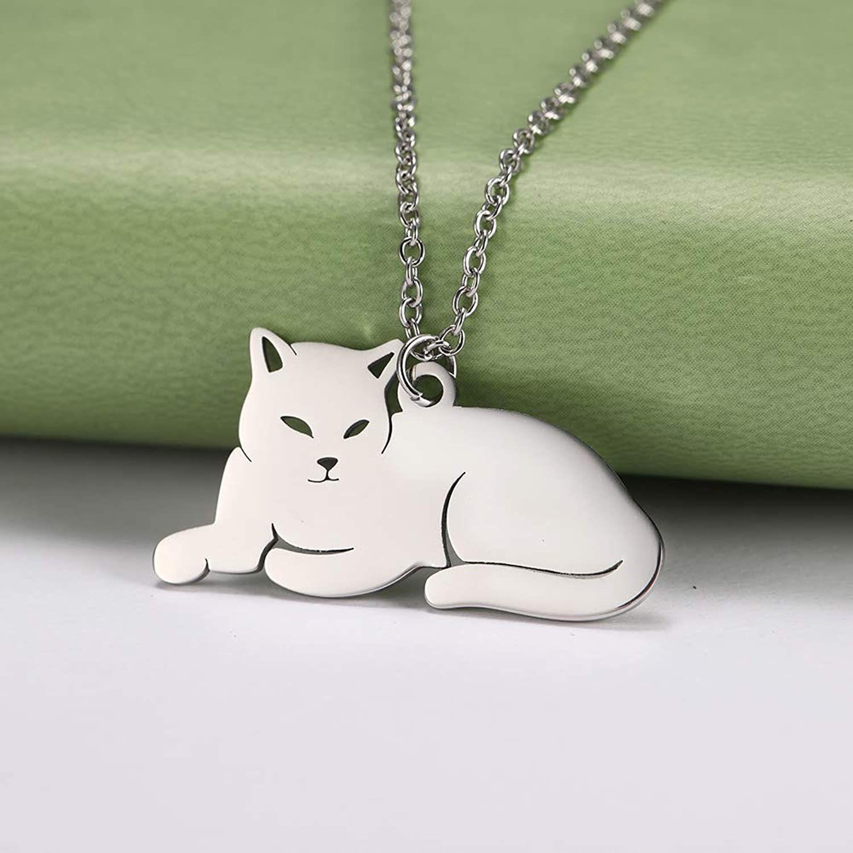 گردنبند نقره زنانه ترمه 1 طرح گربه کد A-628 -  - 5