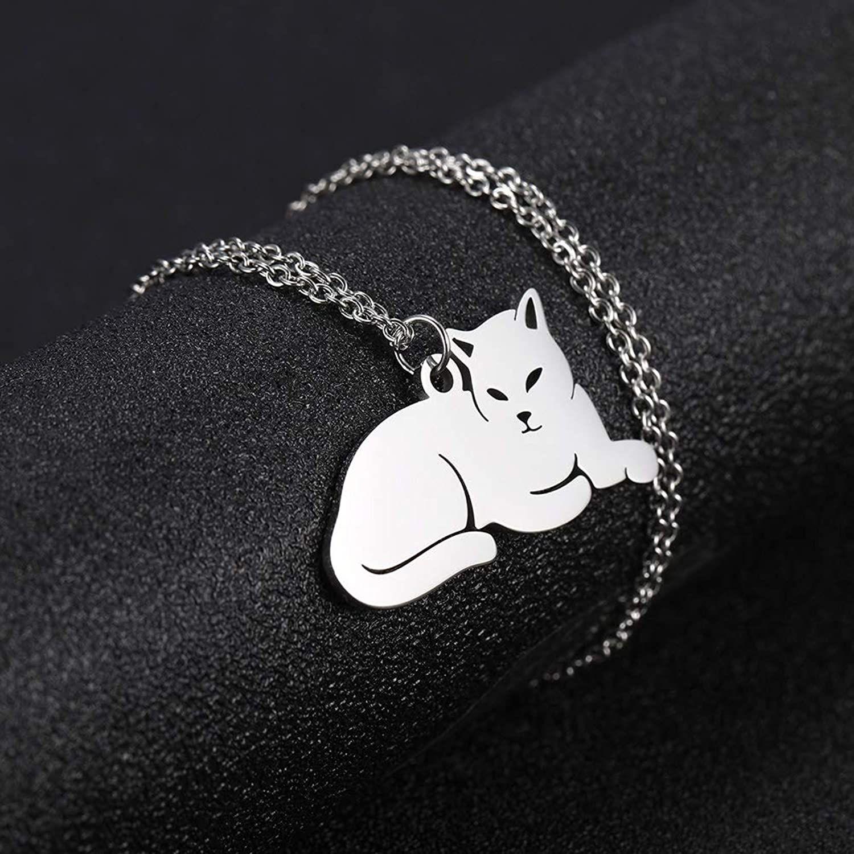 گردنبند نقره زنانه ترمه 1 طرح گربه کد A-628 -  - 6