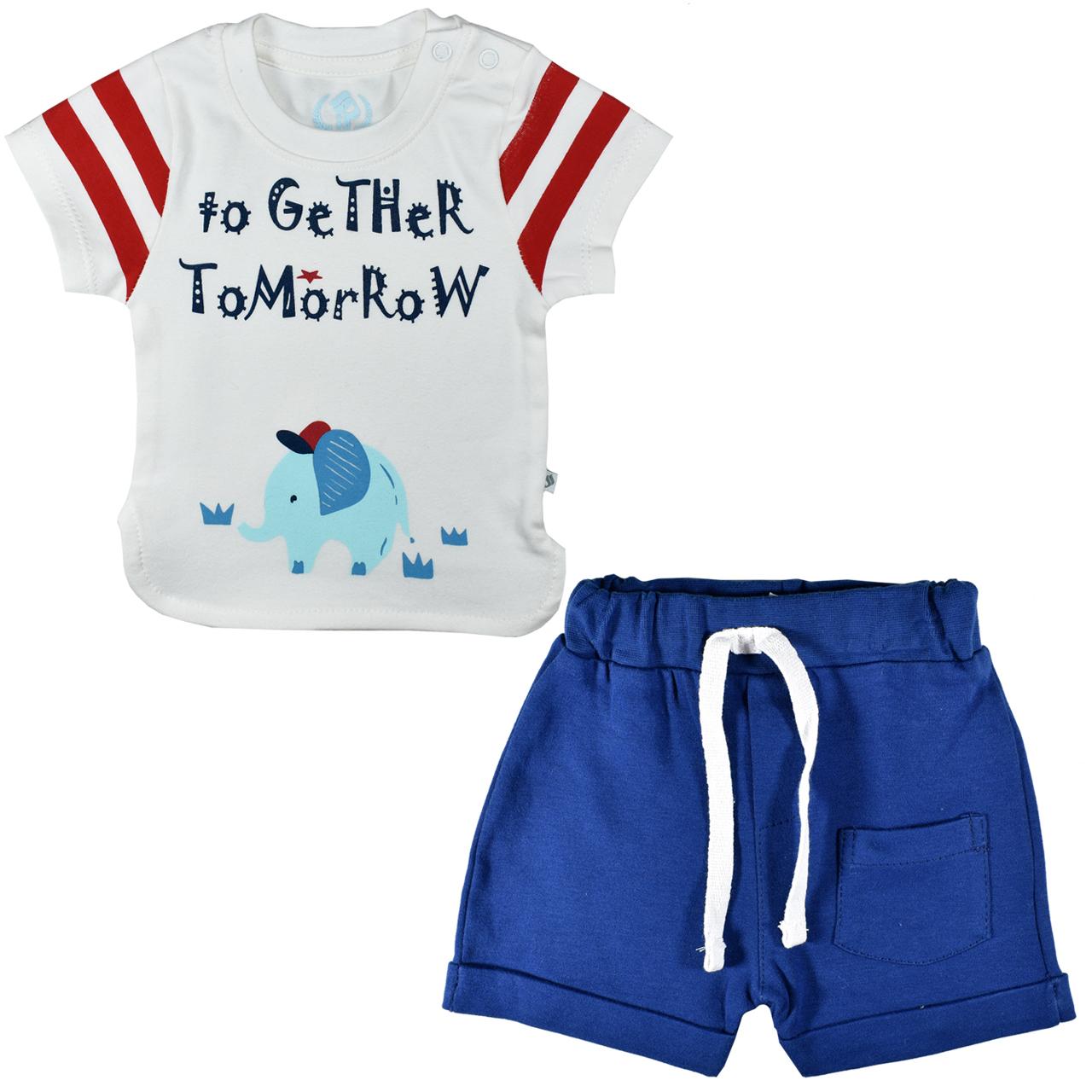 ست تیشرت و شلوارک نوزادی پوشیران کد 5511