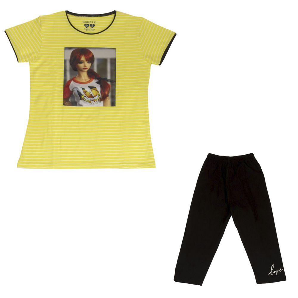 ست تیشرت و شلوارک دخترانه گلریز کد 99131 رنگ زرد