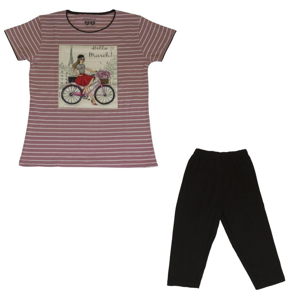 ست تیشرت و شلوارک دخترانه گلریز کد 99135 رنگ صورتی