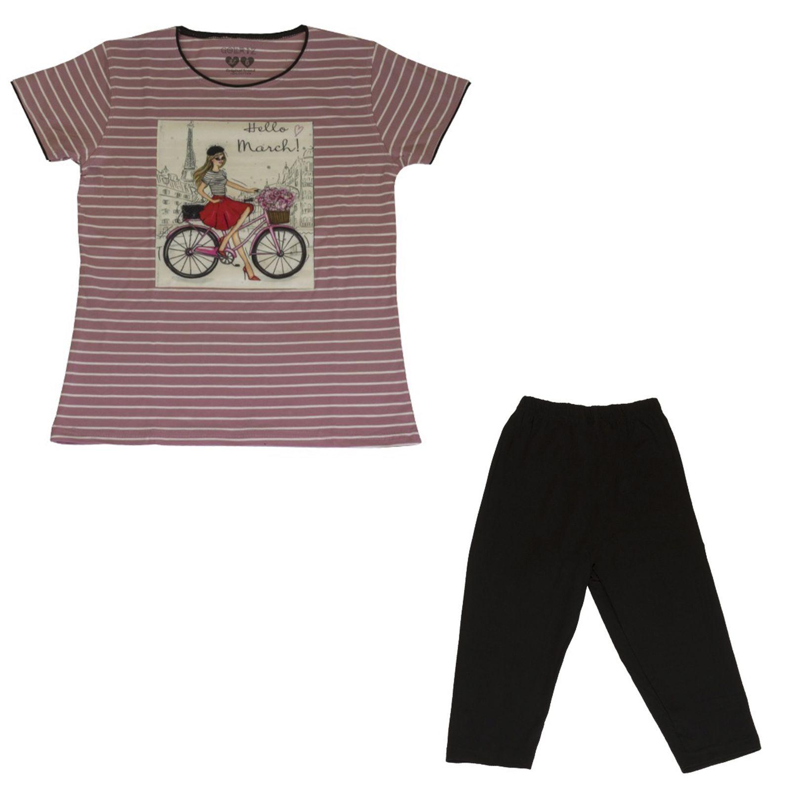 ست تیشرت و شلوارک دخترانه گلریز کد 99135 رنگ صورتی  -  - 2