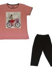 ست تیشرت و شلوارک دخترانه گلریز کد 99135 رنگ گلبهی -  - 1