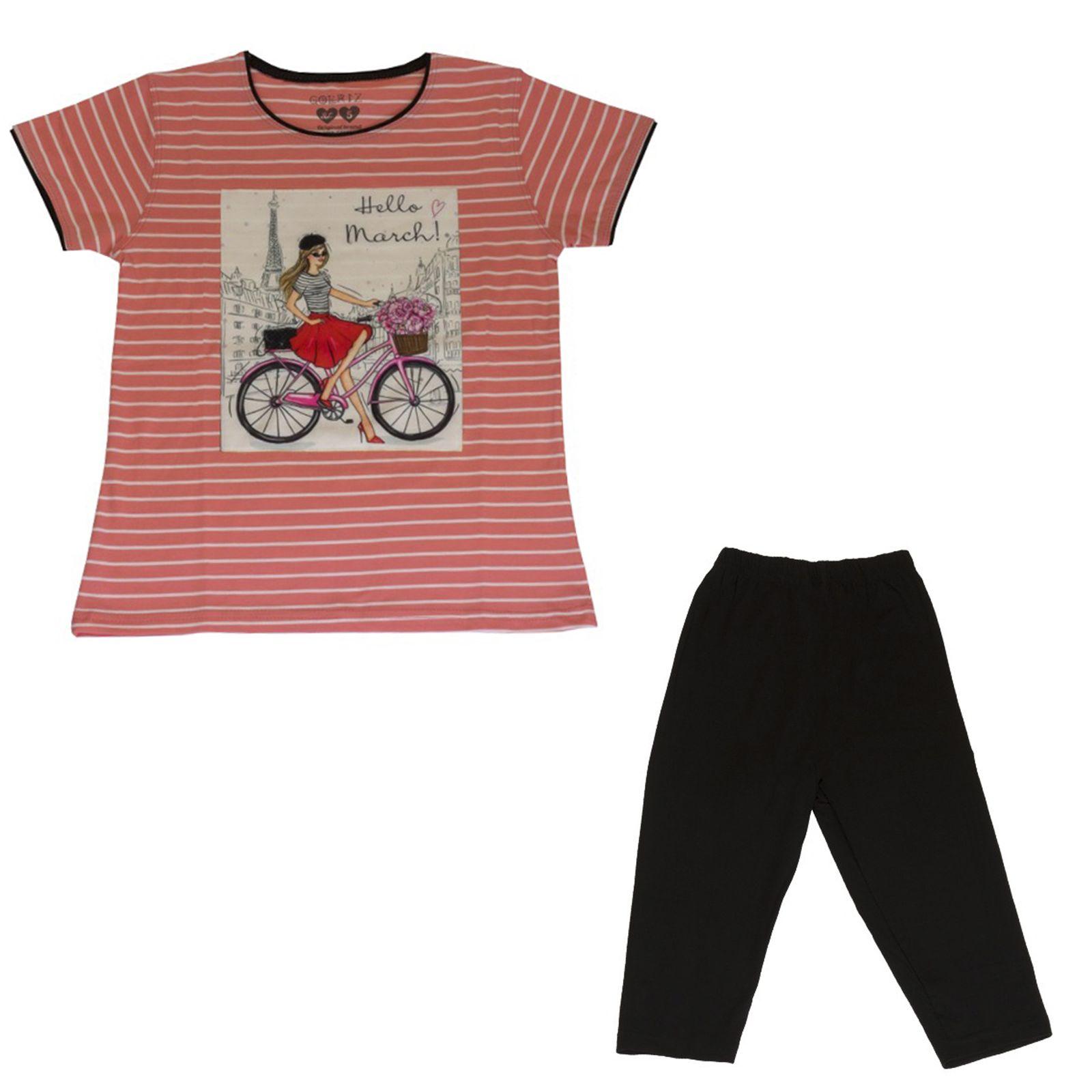 ست تیشرت و شلوارک دخترانه گلریز کد 99135 رنگ گلبهی -  - 2