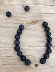 دستبند طلا 18 عیار زنانه الماسین آذر طرح چشم نظر کد CH03 -  - 4