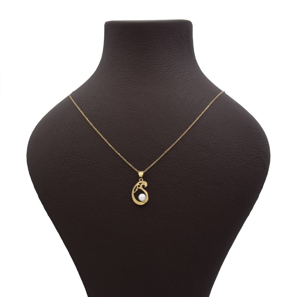 گردنبند طلا 18 عیار زنانه آمانژ طرح بته کد 1007D8952