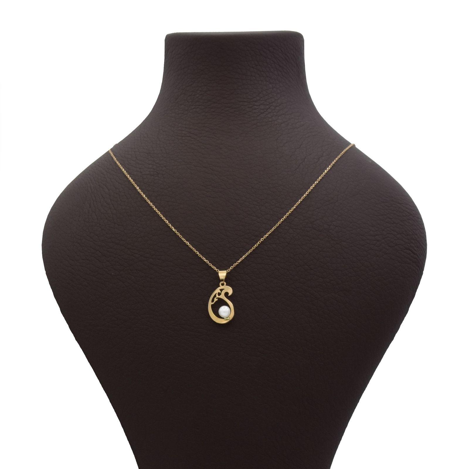 گردنبند طلا 18 عیار زنانه آمانژ طرح بته کد 1007D8952 -  - 2
