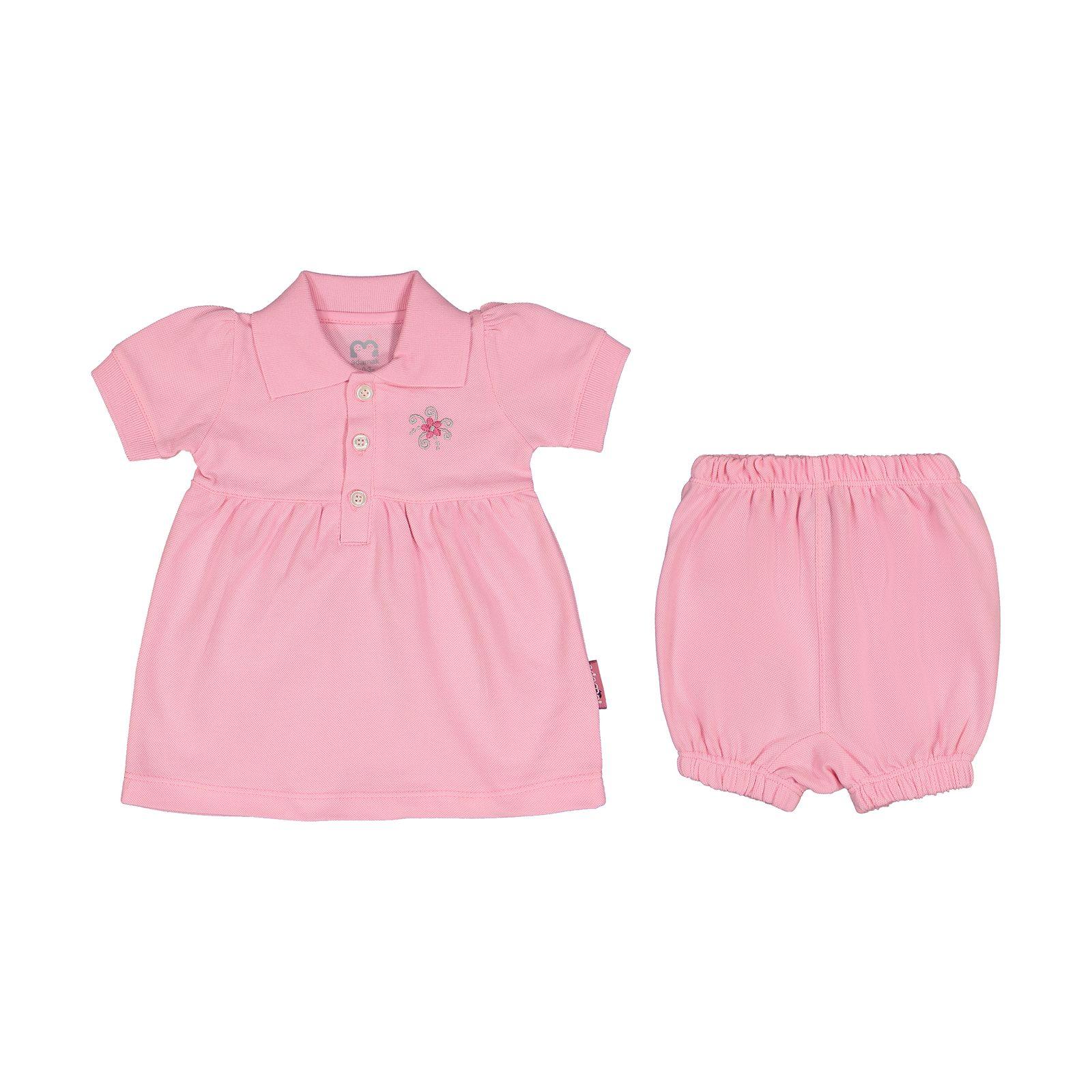 ست پیراهن و شلوارک نوزادی دخترانه آدمک مدل 2171109-84 -  - 2
