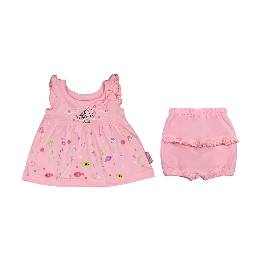 ست پیراهن و شورت نوزادی دخترانه مدل 2171111-84