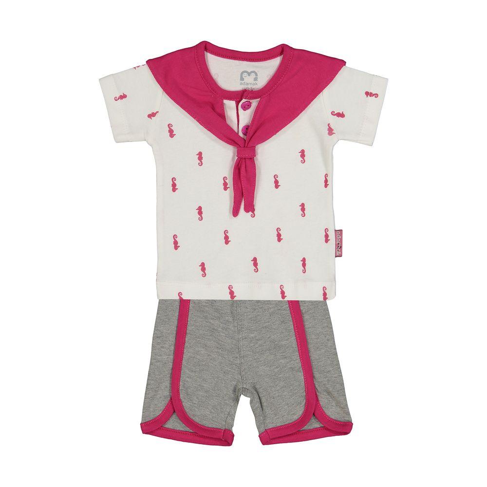 ست تی شرت و شورت نوزادی دخترانه آدمک مدل 2171112-88