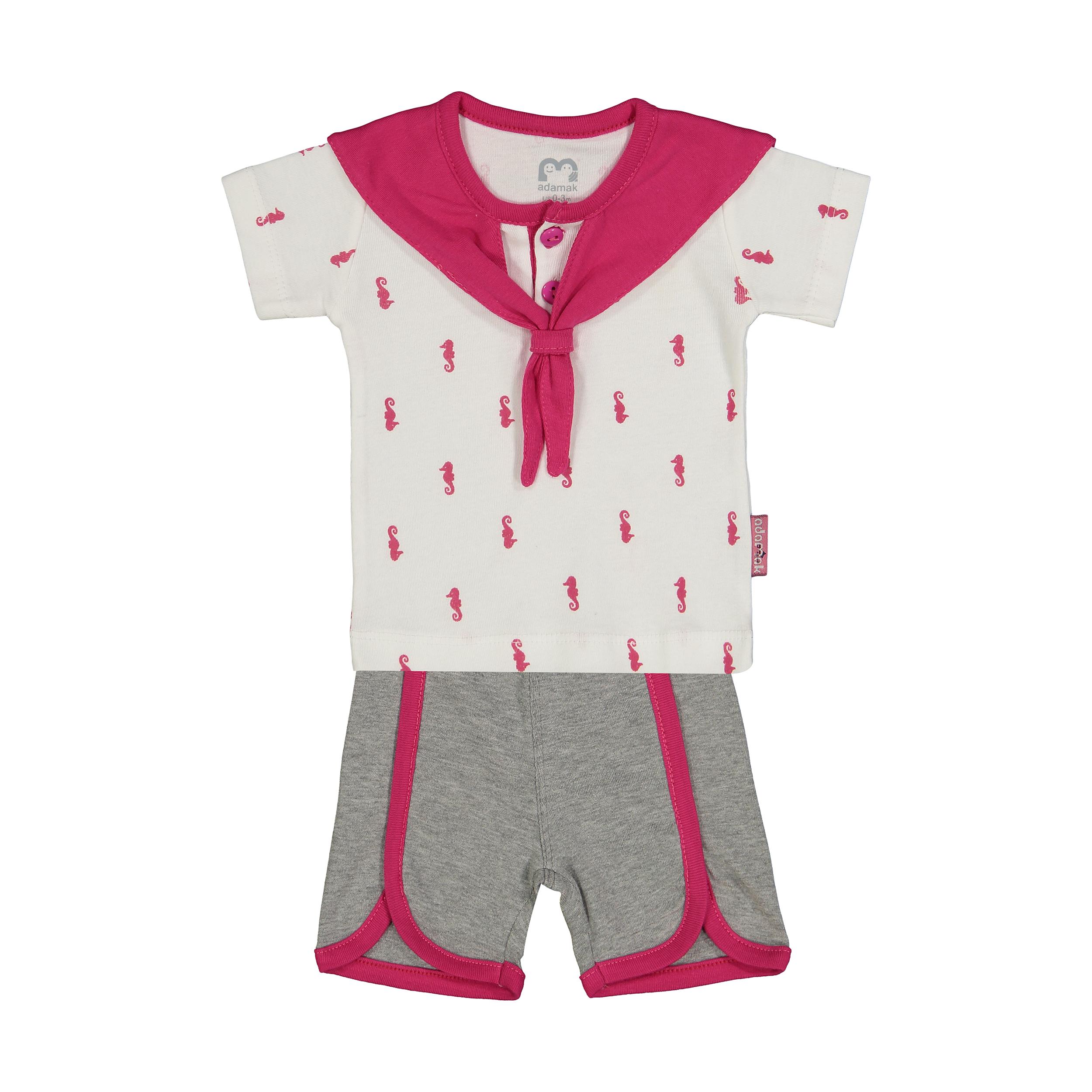 ست تی شرت و شورت نوزادی دخترانه آدمک مدل 2171112-88 -  - 2