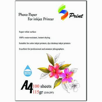 کاغذ چاپ عکس گلاسه اس پرینت مدل 115 سایز A4 بسته 100 عددی