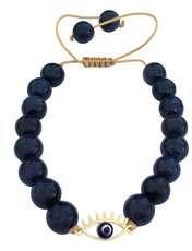 دستبند طلا 18 عیار زنانه الماسین آذر طرح چشم نظر کد CH03 -  - 1