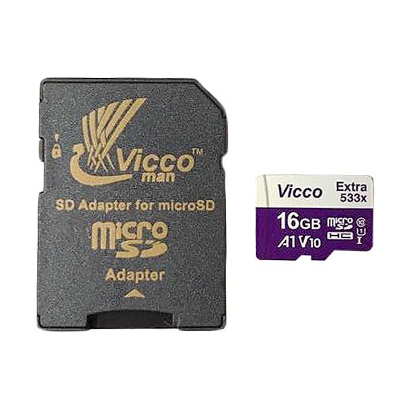 کارت حافظه microSDHC ویکومن مدل 533X کلاس 10 استاندارد UHS-I A1 سرعت 80MBps ظرفیت 16 گیگابایت به همراه آداپتورSD