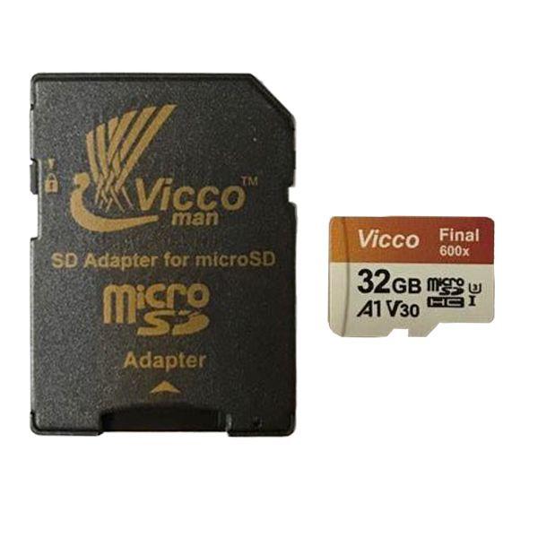 کارت حافظه microSDHC ویکومن مدل 600X کلاس 10 استاندارد UHS-I A1 سرعت 90MBps ظرفیت 32 گیگابایت به همراه آداپتور SD