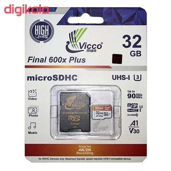 کارت حافظه microSDHC ویکومن مدل 600X کلاس 10 استاندارد UHS-I A1 سرعت 90MBps ظرفیت 32 گیگابایت به همراه آداپتور SD main 1 1