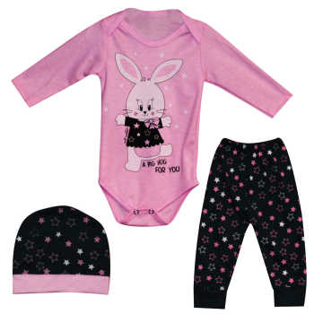 ست 3 تکه لباس نوزادی طرح خرگوش کد I3B2
