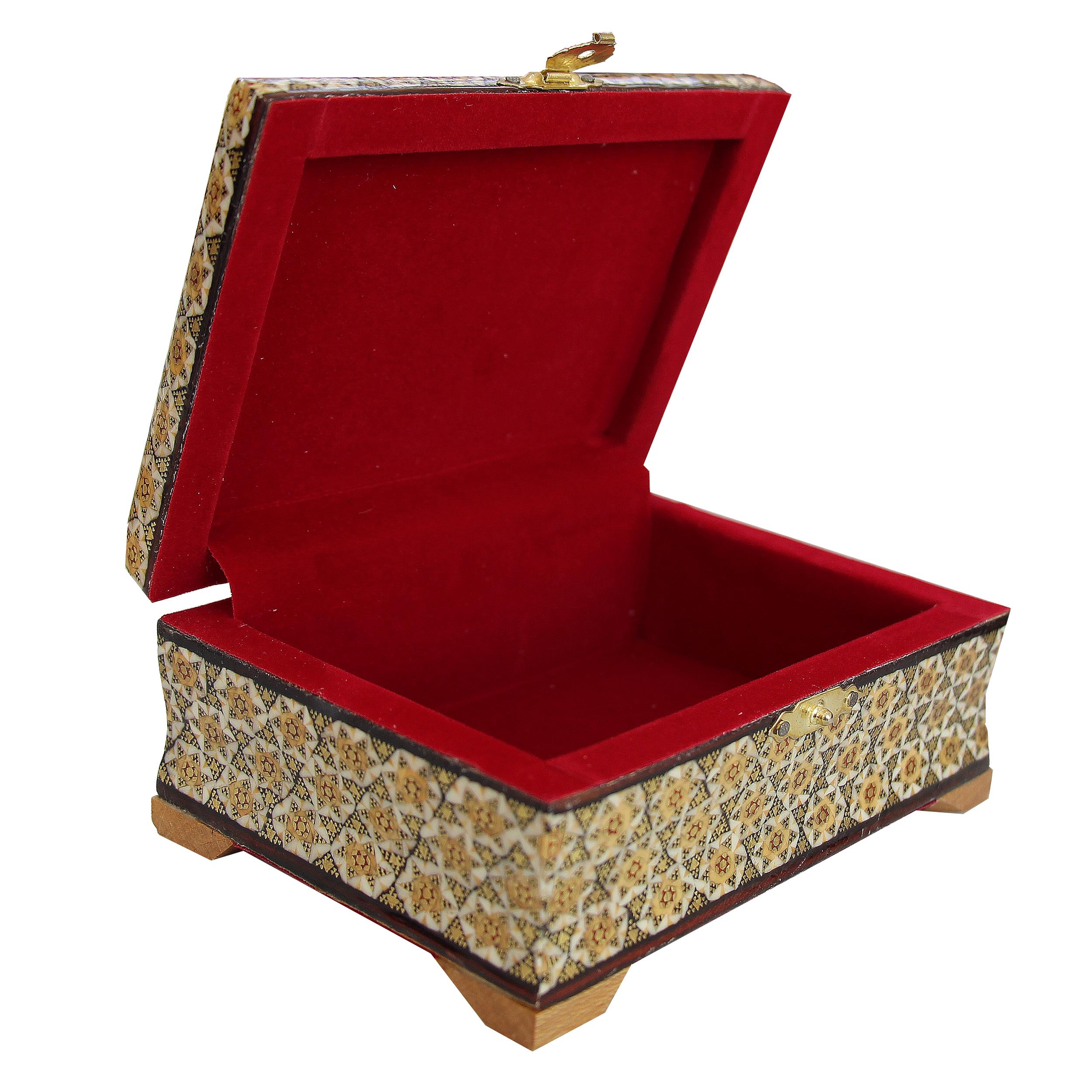 خرید                      جعبه جواهرات خاتم کاری کد 1018