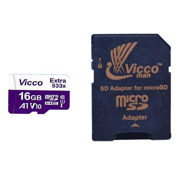 کارت حافظه microSDHC ویکومن مدل Extra 533X کلاس 10 استاندارد UHS-I U1 سرعت 80MBps ظرفیت 16گیگابایت به همراه آداپتور SD