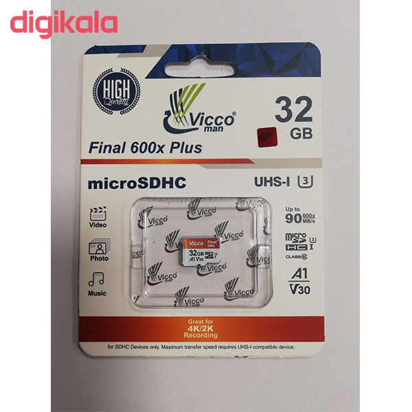 کارت حافظه microSDHC ویکومن مدل Final 600X کلاس 10 استاندارد UHS-I U3 سرعت 90MBps ظرفیت 32 گیگابایت main 1 1