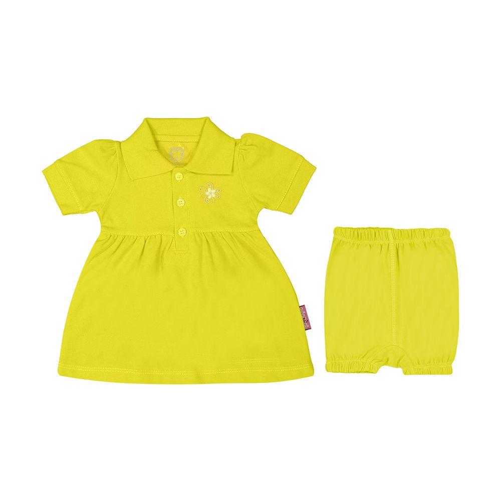 ست پیراهن و شلوارک نوزادی دخترانه آدمک مدل 2171109-19