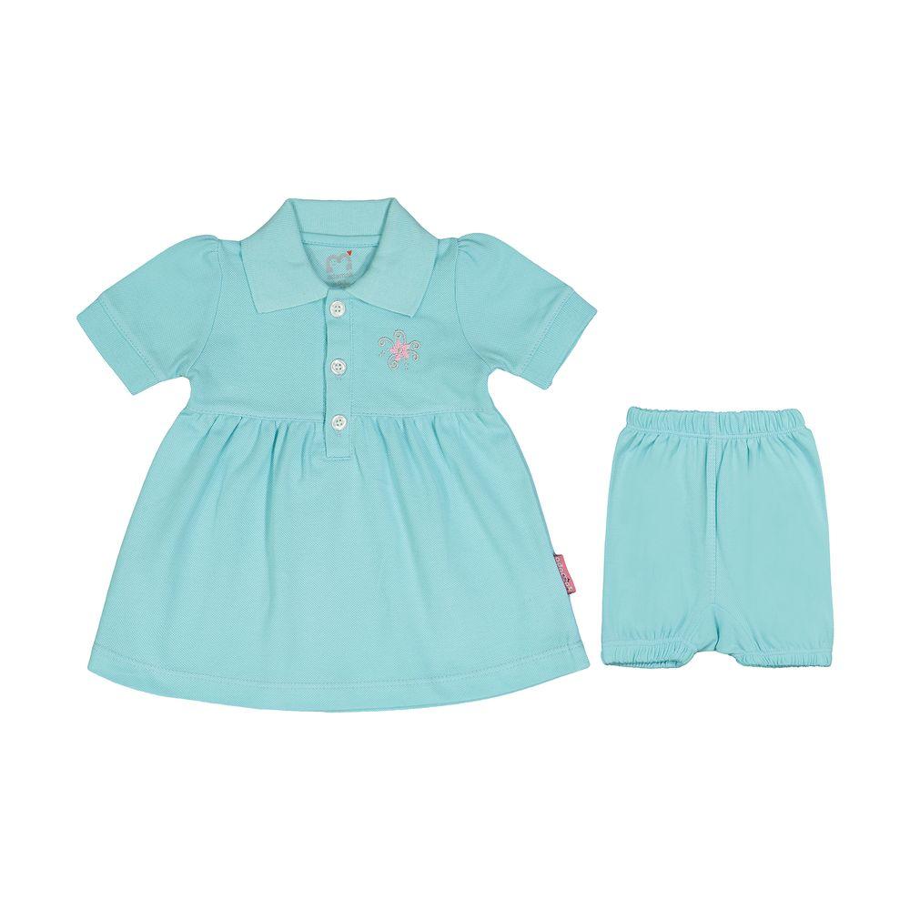 ست پیراهن و شلوارک نوزادی دخترانه آدمک مدل 2171109-53