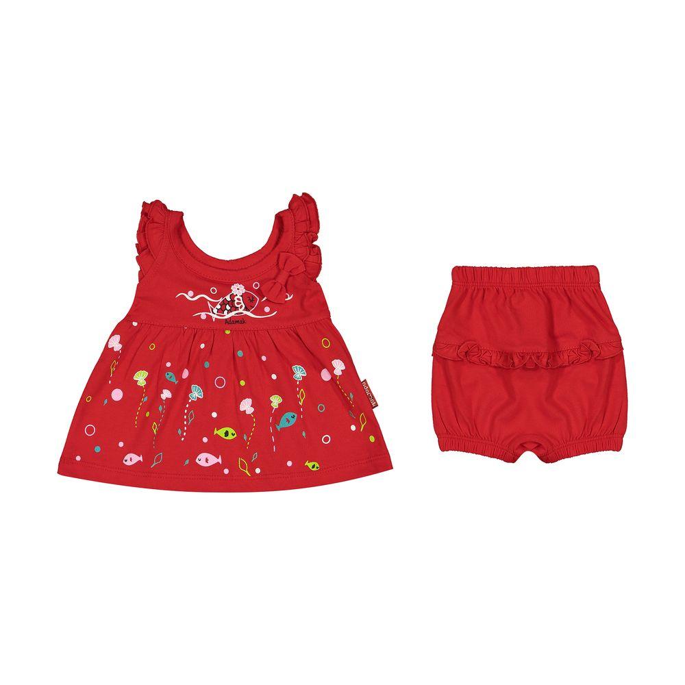 ست پیراهن و شورت نوزادی دخترانه مدل 2171111-72