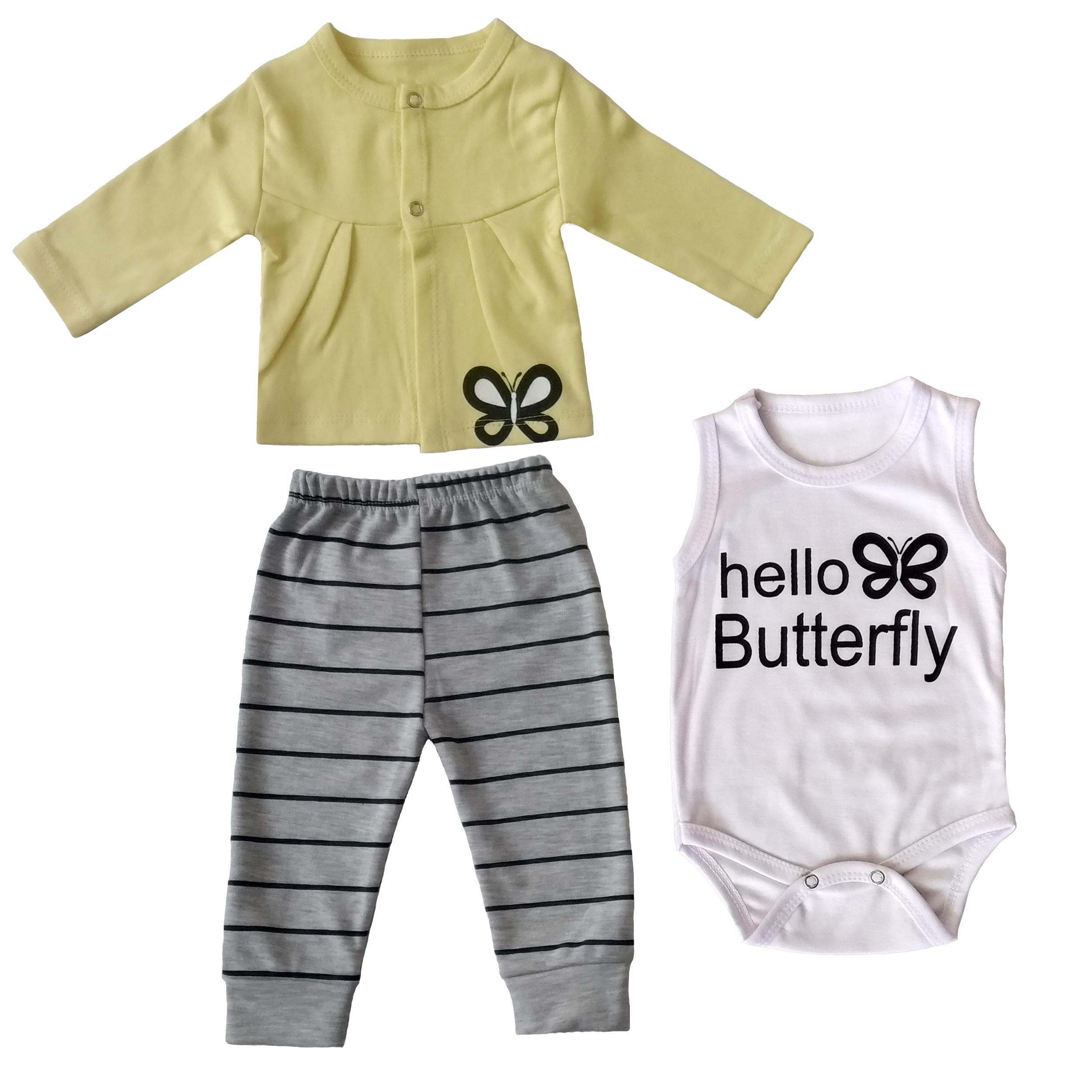 ست 3 تکهلباس  نوزادی دخترانه طرح پروانه کد FF-BY