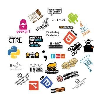 استیکر لپ تاپ طرح برنامه نویسی کد 1 مجموعه ۳۰ عددی