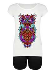 ست تیشرت و شلوارک زنانه طرح Owl کد 1000046 -  - 3